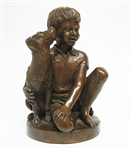 "FRANKLIN MINT BRONZE ""BOY WITH DOG"""