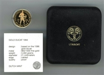 SUPERB ULTRA GEM CAMEO PROOF 1994 NETHERLANDS GOLD DUCAT IN CUSTOM BOX AND CAPSULE