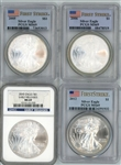 4 DIFFERENT NEAR FLAWLESS SILVER EAGLES PCGS & NGC MS69