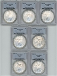 SPECIAL LOT OF SEVEN (7) NEARLY PERFECT 2008-W $1 SILVER EAGLES. PCGS MS69