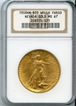 SPECTACULAR 1908 $20 WELLS FARGO SAINT GAUDENS GOLD COIN MS67