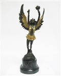 ART NOUVEAU WINGED MUSE BRONZE WITH GOLD OVERLAY